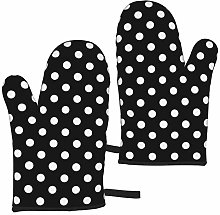 Black and White Polka Dots Oven Mitts,Heat
