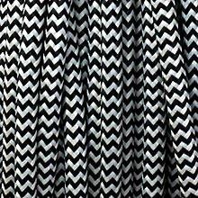 Black and White Round Fabric Flex - 3 Core Braided