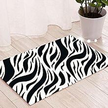 Black and White Striped Cotton Rug, Non-slip