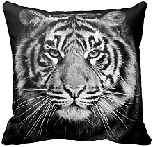 Black and White Tiger Photo Zippered Pillow Case