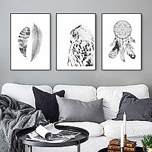 Black and White Wall Art Canvas Painting Feather