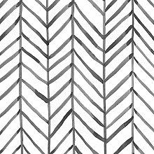 Black and White Wallpaper Herringbone Waterproof