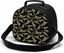 Black and Yellow Trombone Insulated Lunch Bag Mini