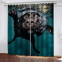 Black Animal Dog Thermal Blackout Curtain 234 (W)