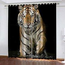 Black Animal Tiger Thermal Blackout Curtain 220