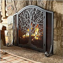 Black Arch Panel Fireplace Screen with Door,