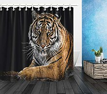 Black Background Tiger Waterproof Fabric Shower