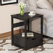 Black Bedside Tables, Bedside Cabinet with 1
