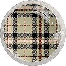 Black & Beige Scottish Plaid 4PCS Round Shape
