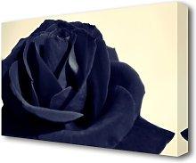 Black Blue Rose Flowers Canvas Print Wall Art East
