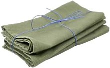 Black Bough - Drab Green 100% Linen Napkin -