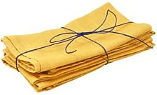 Black Bough - Mustard Yellow Linen Napkin Set of 4