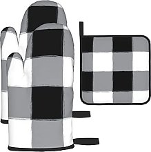Black Buffalo Check Gingham Oven Mitts and Pot