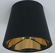 Black Candle Clip On Fabric Lampshade Gold Lining
