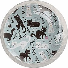 Black Cat 4 Pack Glass Drawer Knobs- Round Shape