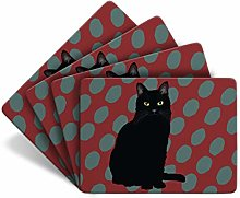 Black Cat - Set of 4 Table Mats - Leslie Gerry