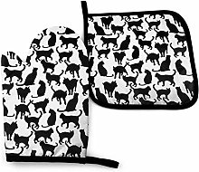 Black Cats Oven Mitt Cooking Gloves and Pot Holder