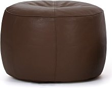 Black Cloister Leather Pouffe Three Posts