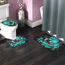 Black Clover Bathroom Rugs Set Non-Slip Water