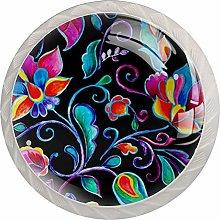 Black Colored Leaves 4pcs Glass Cupboard Wardrobe