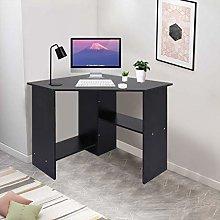 Black Computer Corner Desk with Storage Shelf -