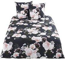 Black Cotton Bedding Set with Floral Print 240x260