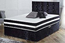 Black Crushed Velvet Divan Bed Set with Mattress