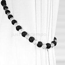 Black CRYSTAL Beaded Rope Curtain Tie Backs