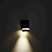 Black Curved Outdoor Up or Down Wall Light - IP54