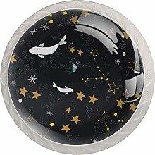 Black Cute Whale Star Sky 4pcs Glass Cupboard
