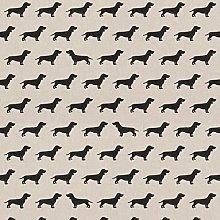 Black Dachshund Dogs - 1 Metre - Natural Cotton