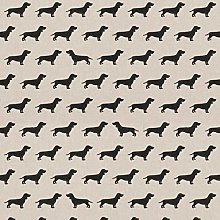 Black Dachshund Dogs - 1 Metre - Natural Cotton