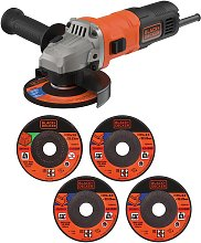 Black + Decker 115mm Angle Grinder & 5 Cutting