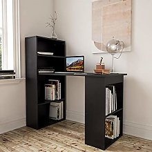 Black Desk and Bookshelf for Home Office - Piranha