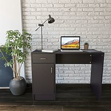 Black Desk with Drawer & Cupboard for Home Office