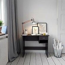 Black Desk with Drawer & Shelf for Home Office -