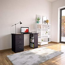 Black Desk with Drawers & Storage for Home Office