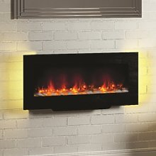 Black Electric Fireplace with LED Backlights -