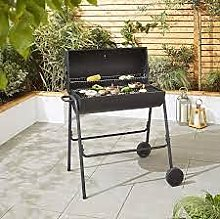 Black Expert Grill Half Drum Barrel Charcoal BBQ