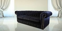 Black Fabric Chesterfield 3 Seater Settee Sofa
