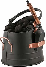 Black Fireside Coal Scuttle Bucket with Shovel
