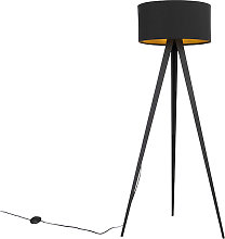 Black floor lamp with black shade and gold