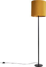 Black floor lamp with velor shade ocher with gold