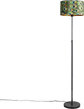 Black floor lamp with velor shade peacock with