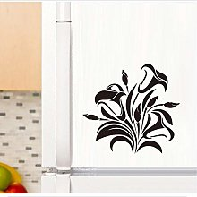 Black Flower Vine Wall Sticker Cabinet Furniture