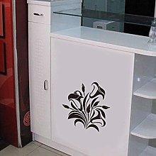 Black Flower Vine Wall Sticker Window Cabinet