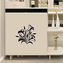 Black Flower Vine Wall Stickers Cabinet Furniture