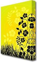 Black Flowers In Yellow Sun Flowers Canvas Print