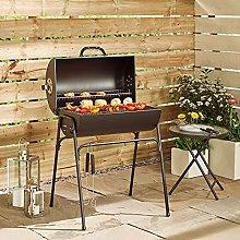 Black Freestanding Drum Barrel Charcoal Barbecue
