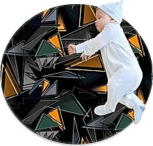 Black geometry, Round Area Rug Pattern Round